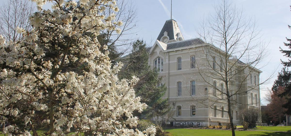 Image of Community Hall on Oregon State Campus with spring flowering tree in foreground