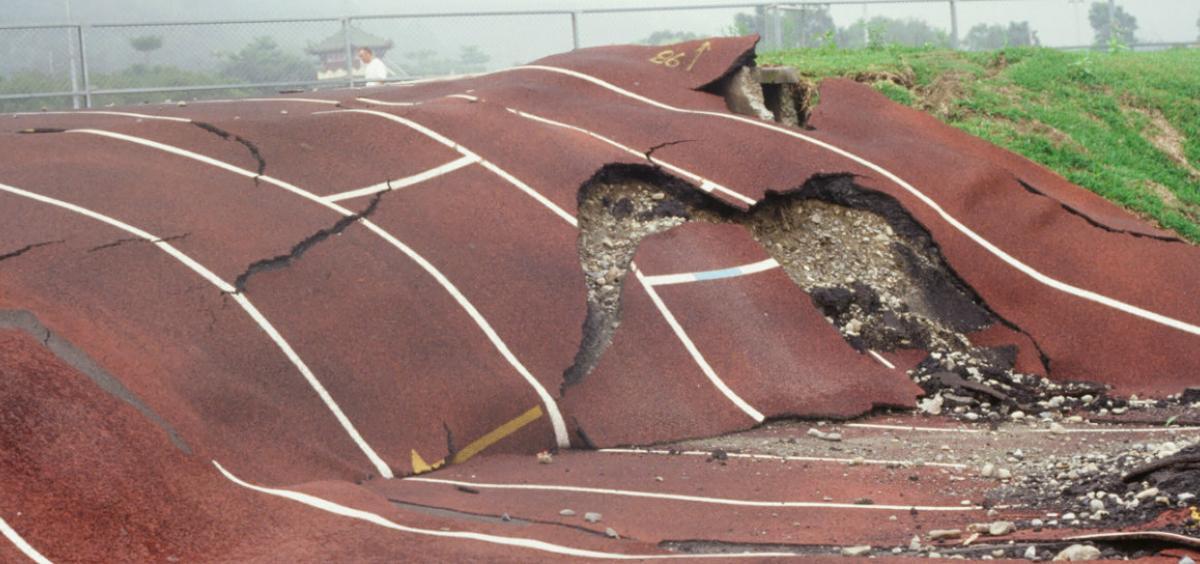 Earthquake-mangled track