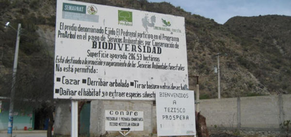 A sign tells visitors in Spanish that this community participates in Mexico's Payments for Ecosystems Service Program for biodiversity conservation