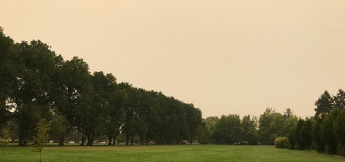 Wildfire smoke fills the sky over Corvallis in September 2017.
