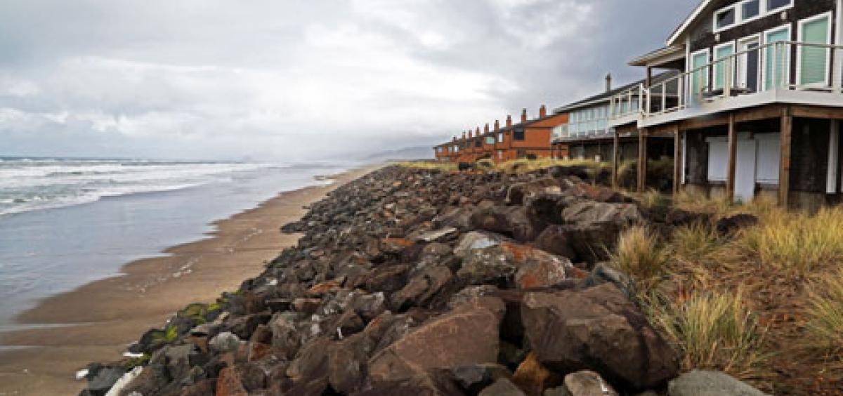 Oceanfront landowners in Neskowin, Ore., have chosen to use rock revetments, or rip-rap, to protect their properties from erosion.