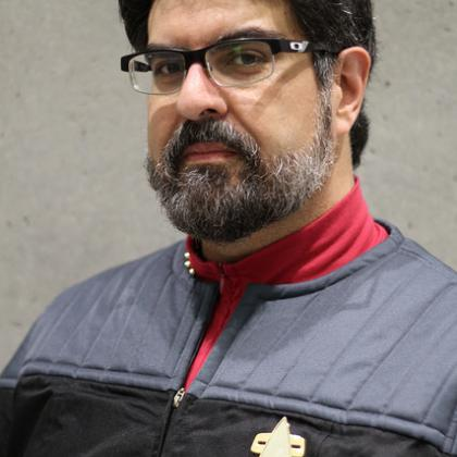 man in Star Trek uniform