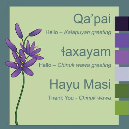 Illustrated sign with image of purple camas flowers and wooden digging stick, along with Chinuk Wawa and Kalapuyan greeting words