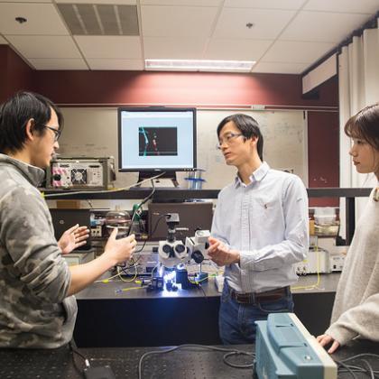 From left, OSU electrical engineering researchers Erwen Li, Alan Wang and Qian Gao (photo by Gale Sumida).