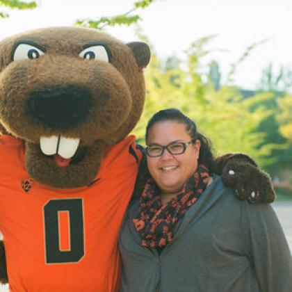 Heather Arbuckle with mascot Benny