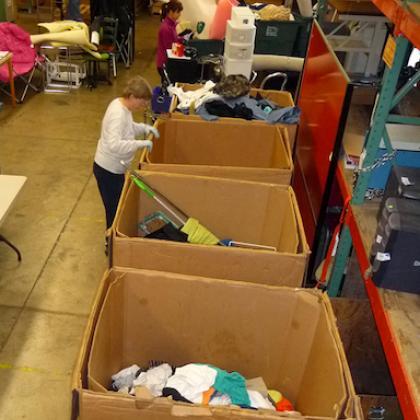 volunteers sorting boxes