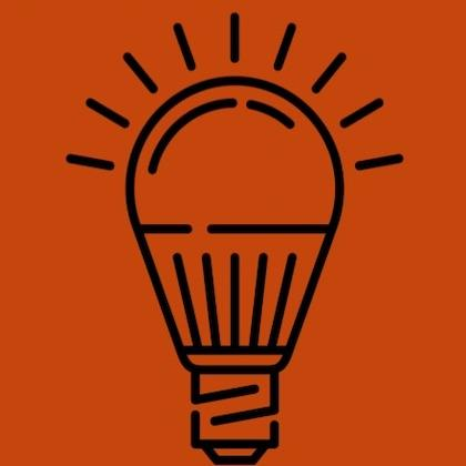 Graphic of a lightbulb on orange background