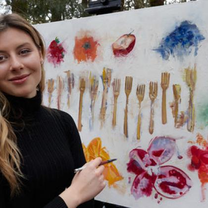 Paris Myers with her artwork