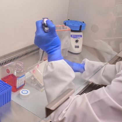 Lab technician pipetting in the OVDL