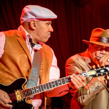 Ronnie Baker Brooks and Billy Branch perform in the Chicago blues style