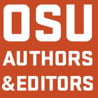 """White text on orange, """"OSU Authors & Editors"""""""
