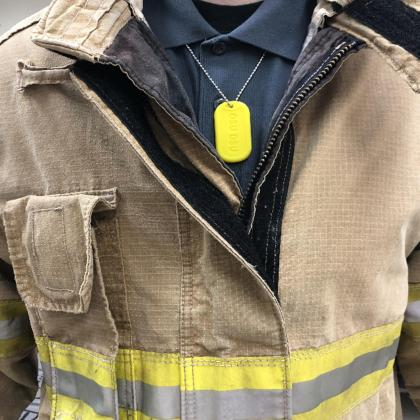 Firefighters in the Kansas City, Missouri, area, wore personal passive samplers in the shape of a military-style dog tag made of silicone on an elastic necklace. The samplers detect chemicals in the air.