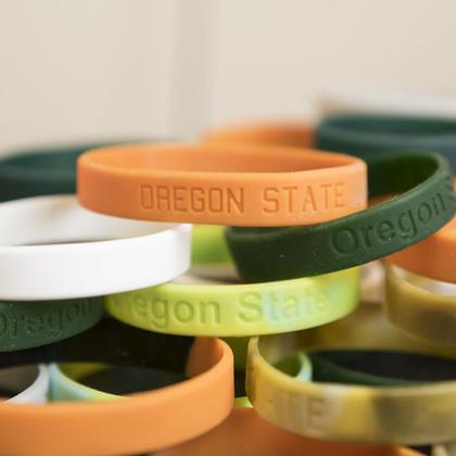 Silicone chemical-sampling wristbands developed by Kim Anderson's research team at Oregon State monitor exposure to environmental pollutants