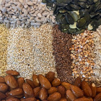 Grains, seeds and nuts that have been soaked in cold water. \