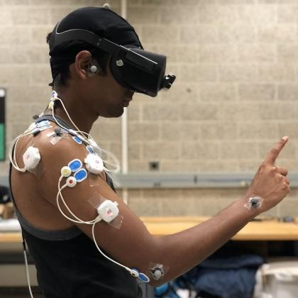 Subject wearing motion sensors and VR headset