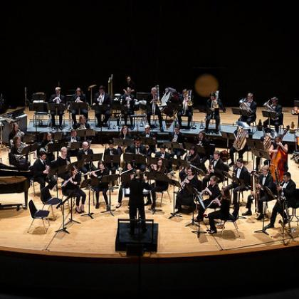 Wind ensemble onstage